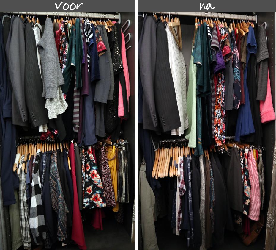 kledingkast opruimen - voor en na